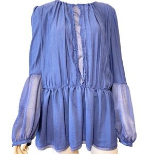 FREE PEOPLE Blue Oversized See Through Tunic Top